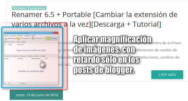 Tutorial: Efecto zoom de imágenes con retardo en CSS3, sólo para las imágenes de los posts en Blogger