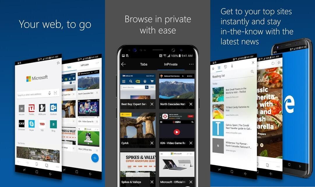 10 Aplikasi Browser Android Terbaik - Microsoft Edge