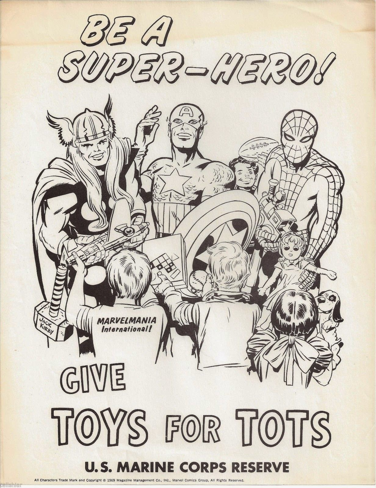 Toys For Tots Advertisement : Vintage jack kirby toys for tots ad
