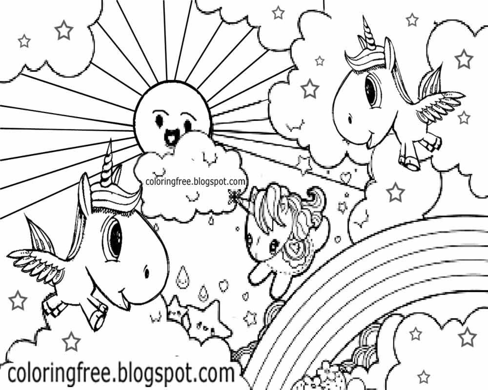 Printable unicorn drawing mythical coloring book pictures for Rainbow unicorn coloring pages