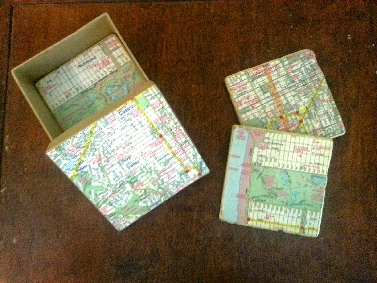 tile coasters using maps
