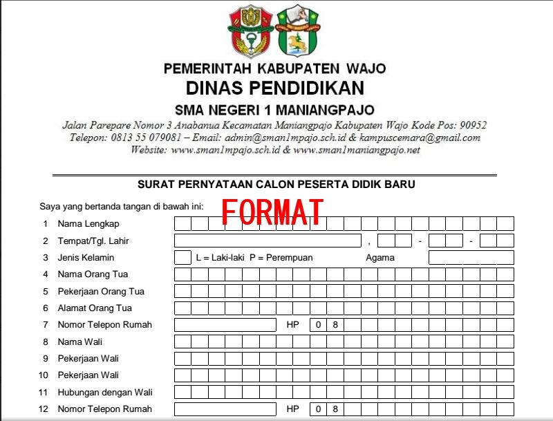 Format Surat Perjanjian Guru dan Orang Tua