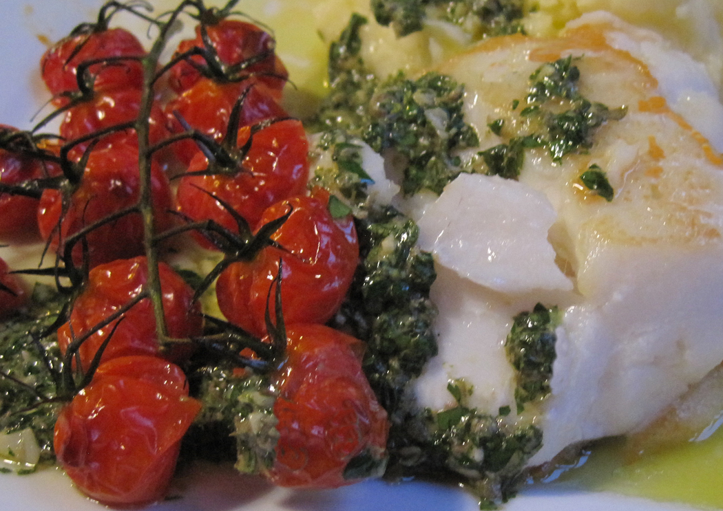 Skrei with Salsa Verde and Roasted Vine Tomatoes
