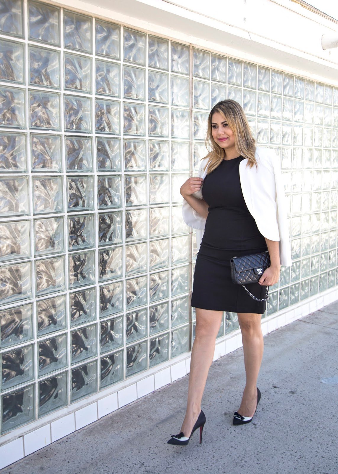 White blazer over black dress, san diego fashion blogger, christian louboutin outfit, chanel black purse