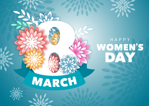 women's day vector Blue style womens day card template free vector
