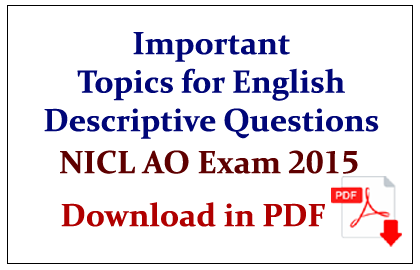 Important Topics for English Descriptive Questions in pdf