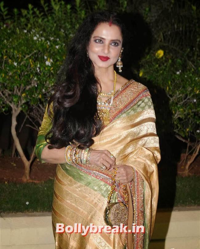 Rekha, Bollywood Babes at Vishesh Bhatt Wedding Reception
