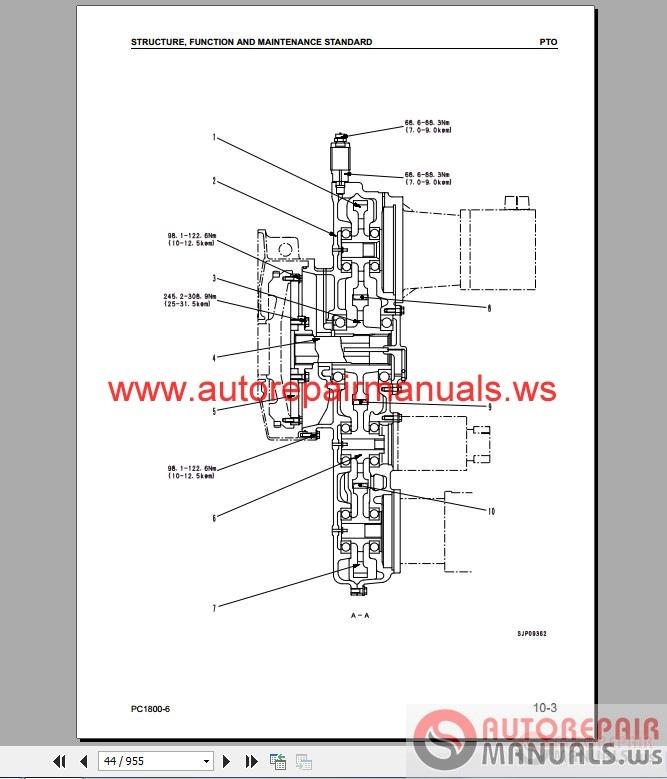 Free Auto Repair Manual : Komatsu Excavator PC1800-6 Shop