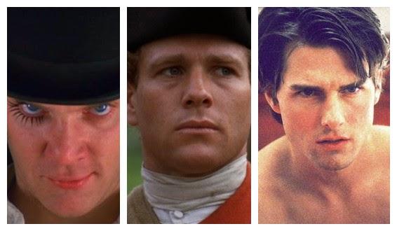 Les personnages présents dans les films de Kubrick : Alex DeLarge, Barry Lyndon et Bill Harford.