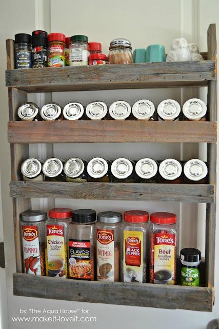 Rustic wood pallet spice rack