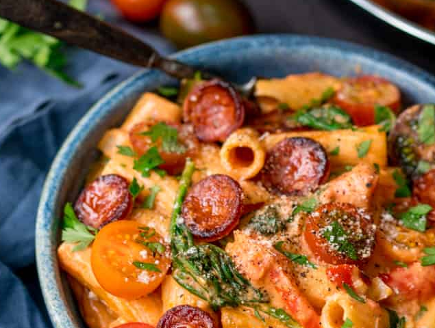 One Pot Creamy Tomato and Chorizo Rigatoni