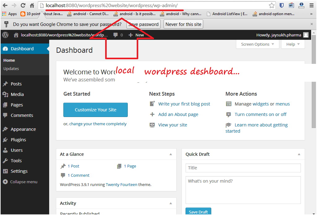 Dashboard for locally installed wordpress