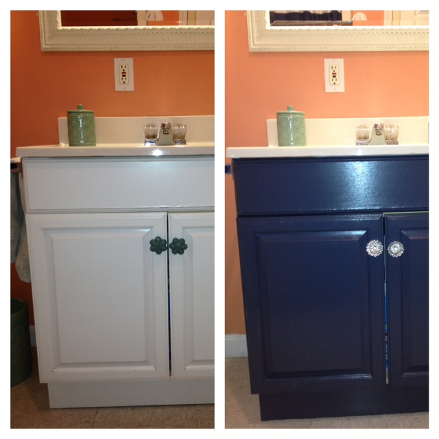 How To Paint Bathroom Laminate Cabinets: The Elegant House: Painting A Laminate Bathroom Vanity