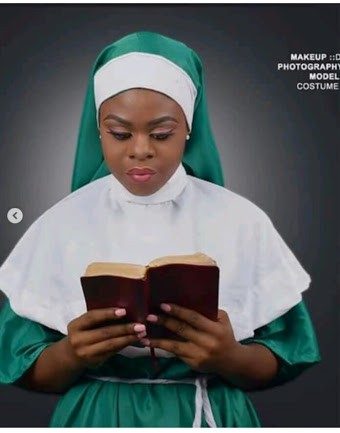 Pretty Lady Dressed As A Nun In Nigerian Colour To Celebrate 58th Independence