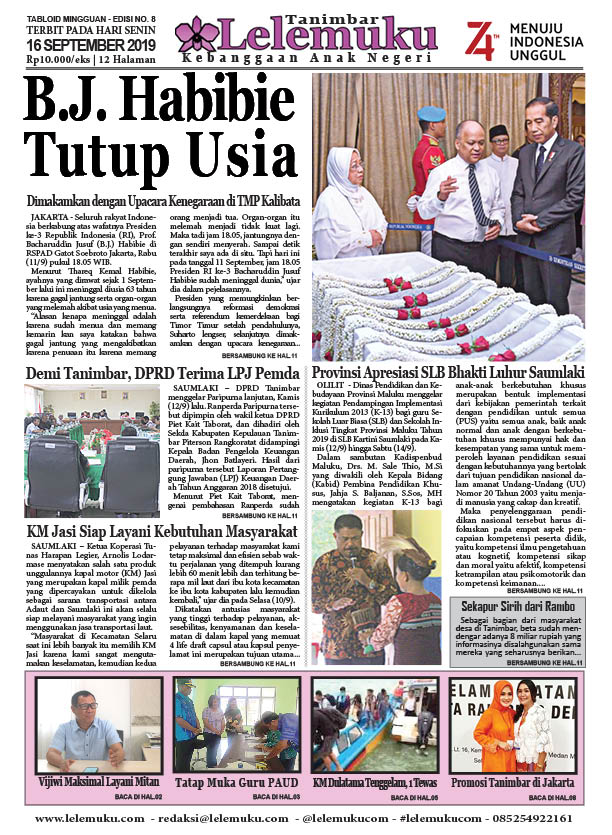 Tabloid Lelemuku #8 - B.J. Habibie Tutup Usia - 16 September 2019