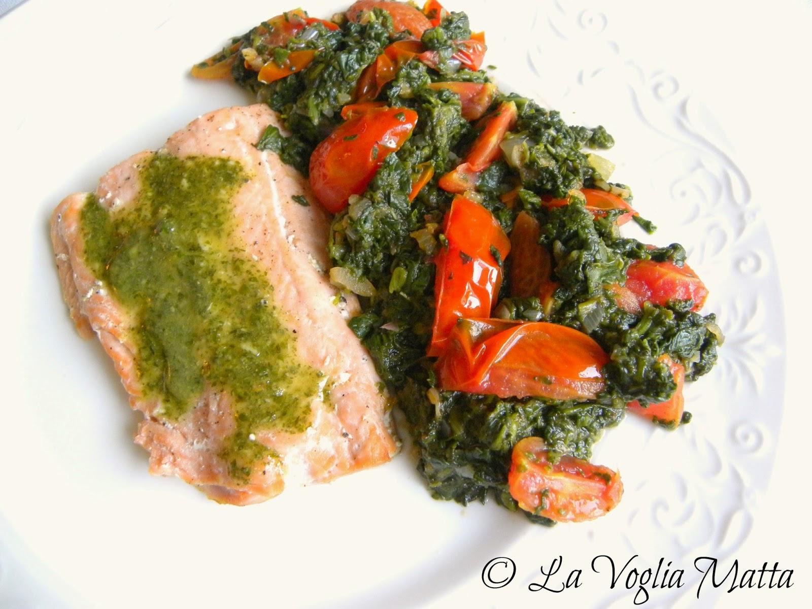salmone al forno con pesto di coriandolo e zenzero