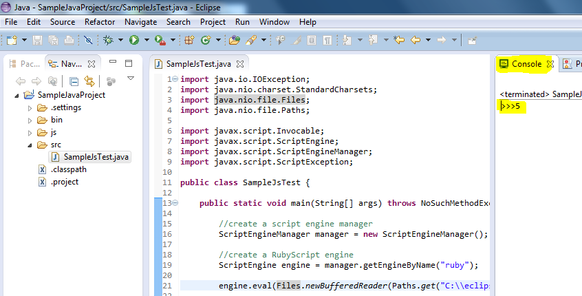 Java - Call ruby script functions from java code