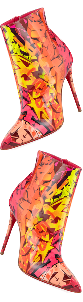 Christian Louboutin So Kate 100 Patent Metrograf Red Sole Booties