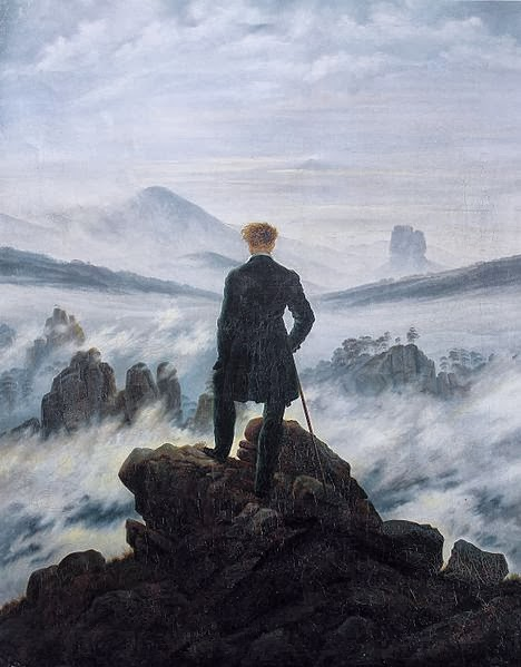 Quadro romantico  C. D. Friedrich, Viandante sul mare di nebbia