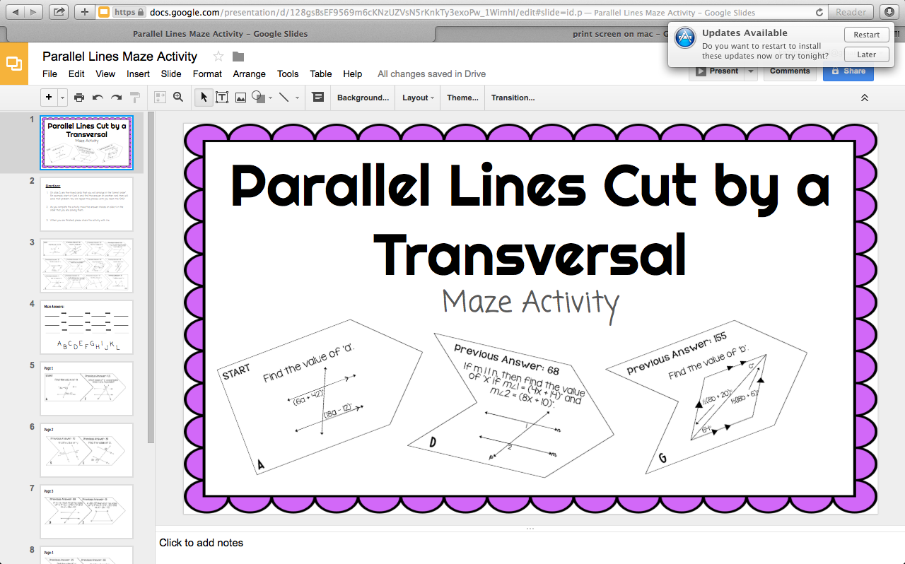 Parallel Lines Cut By Transversal Activity