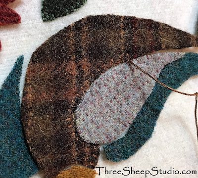 'Piecework' Wool Applique by Rose Clay on blog at ThreeSheepStudio.com