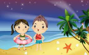 Gambar liburan di pantai kartun