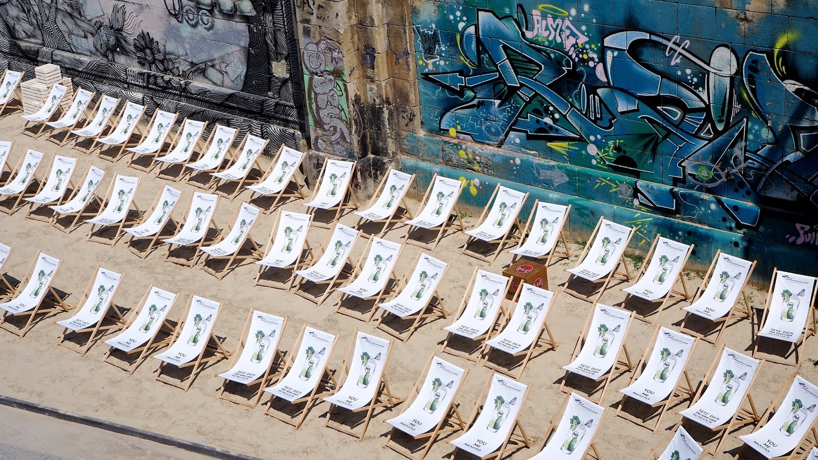 Vienna Riverside Beach with Sun Lounger Chairs