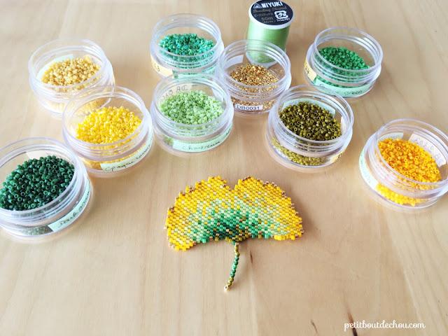 DIY Beaded ginko leaf in brick stitch