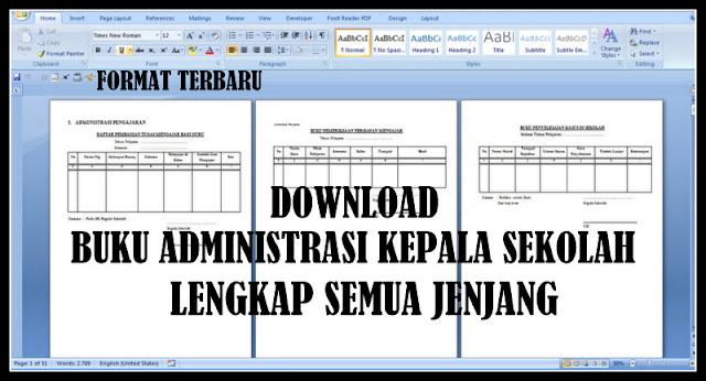 Download Buku Administrasi Kepala Sekolah Lengkap Semua Jenjang