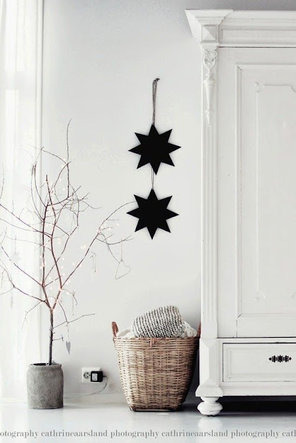 image result for Swedish Farmhouse Christmas Decorating Interior Design black stars
