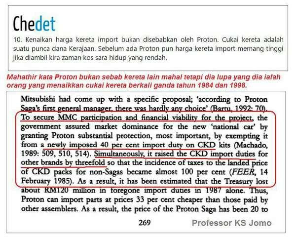 Mahathir Mudah Lupa: Proton Penyebab Kereta Import Menjadi Mahal Dikenakan Cukai Terlalu Tinggi