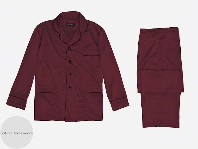 Eleganter Schlafanzug Herren Seide Lang Luxus Pyjama zum Knöpfen Dunkelrot Weinrot Edel Klassisch Stilvoll große Größen