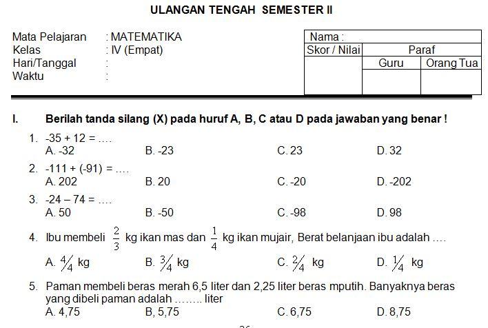 Download Contoh Soal UTS SD/MI Kelas IV Semester 2 Mata Pelajaran MATEMATIKA Format Microsoft Word
