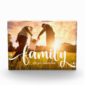 Mother's Day Acrylic Photo Blocks - Stylish White Overlay | Your Family Photo Personalized