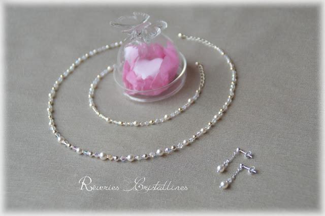 parure mariée perles nacrées et cristaux et argent massif