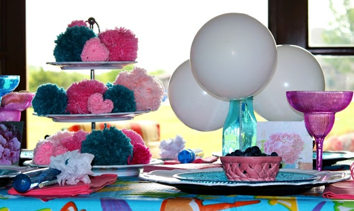 Balloons and Pompoms Al Fresco Tablescape
