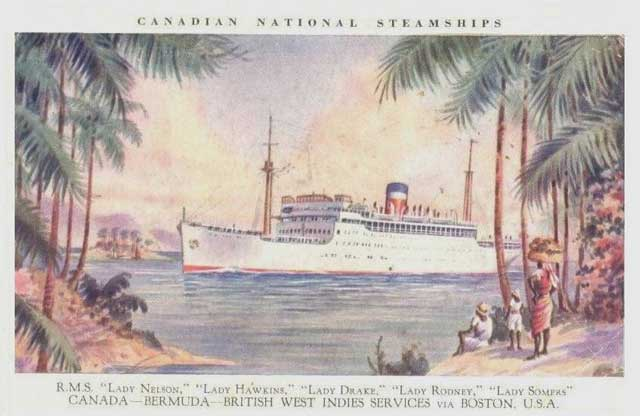 Postcard showing liner Lady Hawkins, sunk by U-66 on 19 January 1942 worldwartwo.filminepctor.com