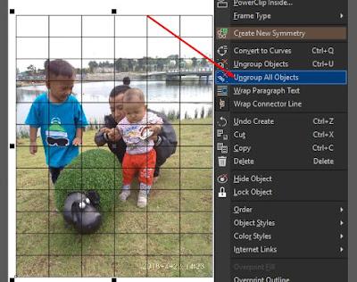 Ungroup Object Graph Paper atau Grid Membuat Efek Transparansi di CorelDraw pada Foto