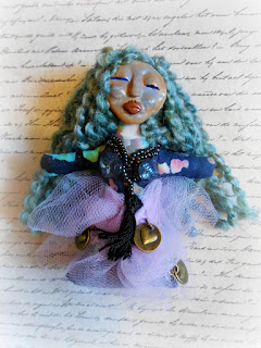 Blue Haired Goddess OOAK Miniature Folk Art Doll Ornament