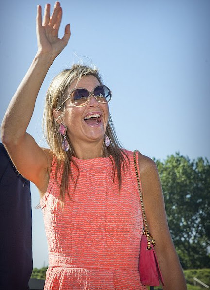 Queen Maxima visits in the province Zeeland. Queen Maxima wore NATAN Dress, Natan shoes, Velentino sunglass, Chanel clutch