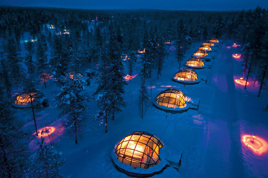 14 Crazy Hotels That Will Give You Serious Travel Goals - Hotel Kakslauttanen in Finland gives guests the chance to stay the night in an updated igloo. This hotel is most popular during the Aurora Borealis, where guests get the best seats in the house.