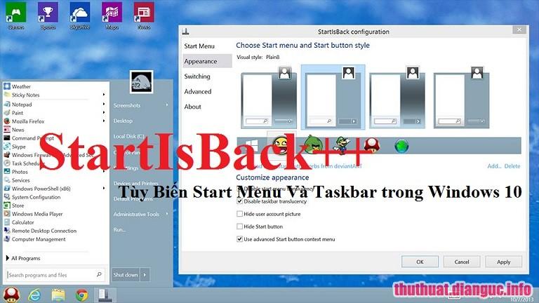 Download StartisBack++2.8.5 Full Crack, tạo Star Menu Windows 7 trên Windows 10, StartisBack++, StartisBack++ free download, StartisBack++ full key