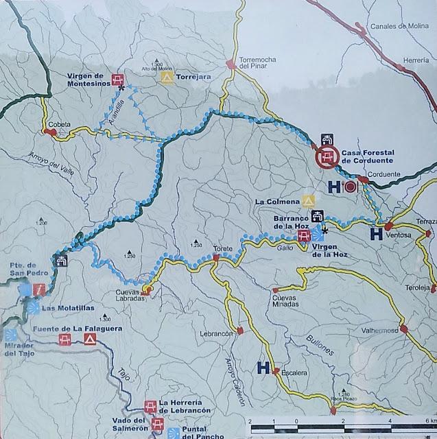 Mapa del área con diferentes rutas de interés