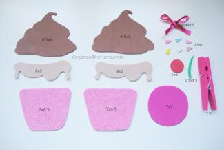 piezas para el cupcake porta-notas