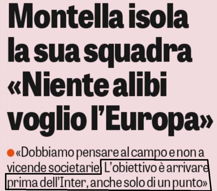 Dichiarazioni di Montella sul l'obbiettivo del Milan