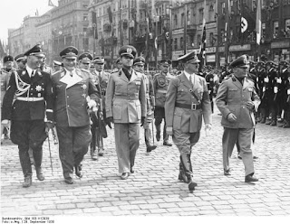 Ciano, centre, to the right of Hitler and Mussolini, to the left of  Heinrich Himmler and Hermann Göring, in Munich in 1938