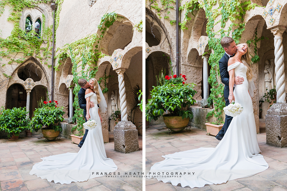 Bride and groom portrait at villa cimbrone in Ravello