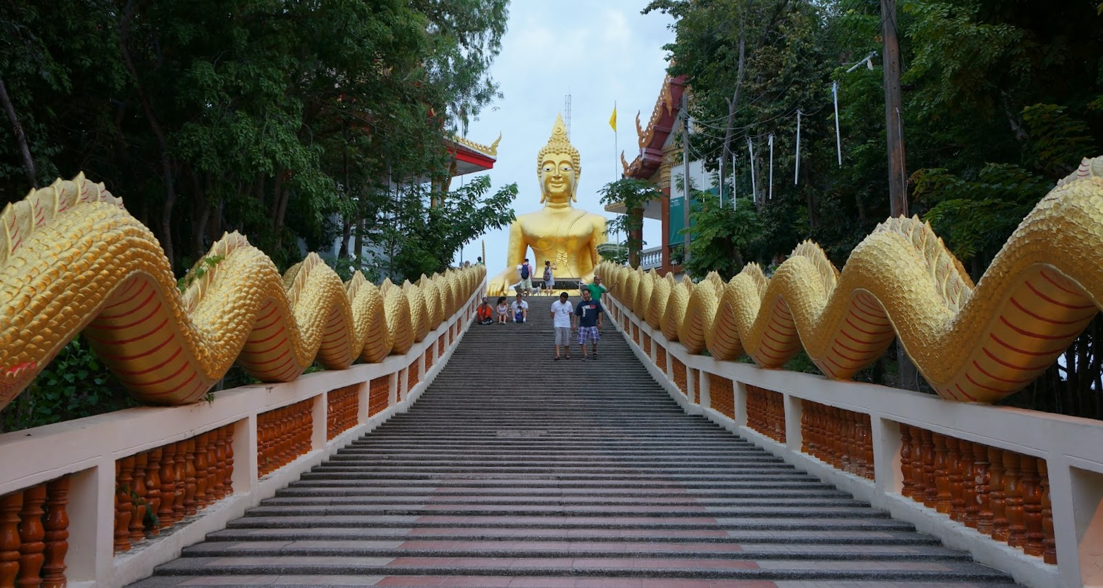 Stairway to Wat Phra Yai. You can get a pretty good view of Jomtien at the top