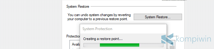 cara membuat system restore point