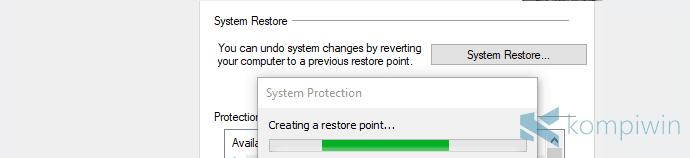 cara membuat system restore point